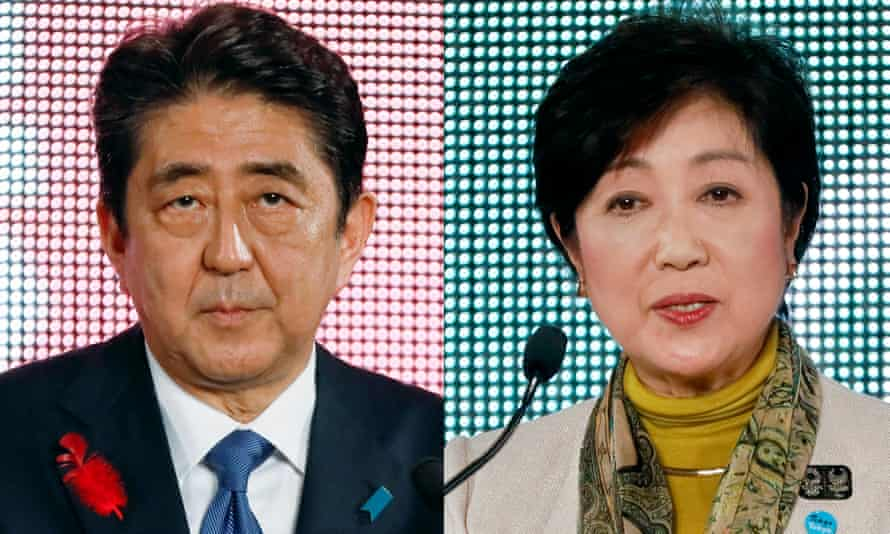 Japanese prime minister Shinzo Abe of the ruling Liberal Democratic party faces a challenge from Yuriko Koike, leader of the Party of Hope.