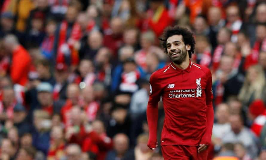 Mohamed Salah celebrates scoring Liverpool's third goal against Southampton.