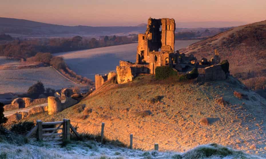 Sunrise at Corfe Castle from East Hill, Dorset.