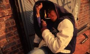 A crack user in Bushwick, Brooklyn, in 1991.
