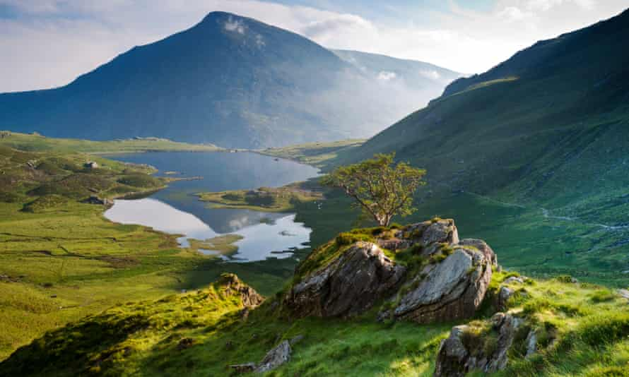 Llyn Idwal and the peak of Pen yr Ole Wen in the distance, in Snowdonia national park