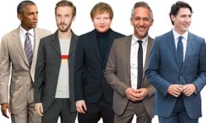 Barack Obama, Dan Stevens, Ed Sheeran, Gary Lineker, Justin Trudeau.