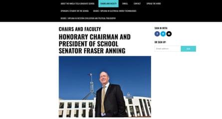 Fraser Anning, Australian senator, on the Nikola Tesla graduate school website.