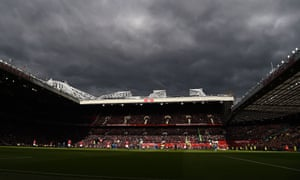 Dark clouds over Old Trafford before the game against Arsenal in April 2018. Manchester United finished 32 points behind City last season.
