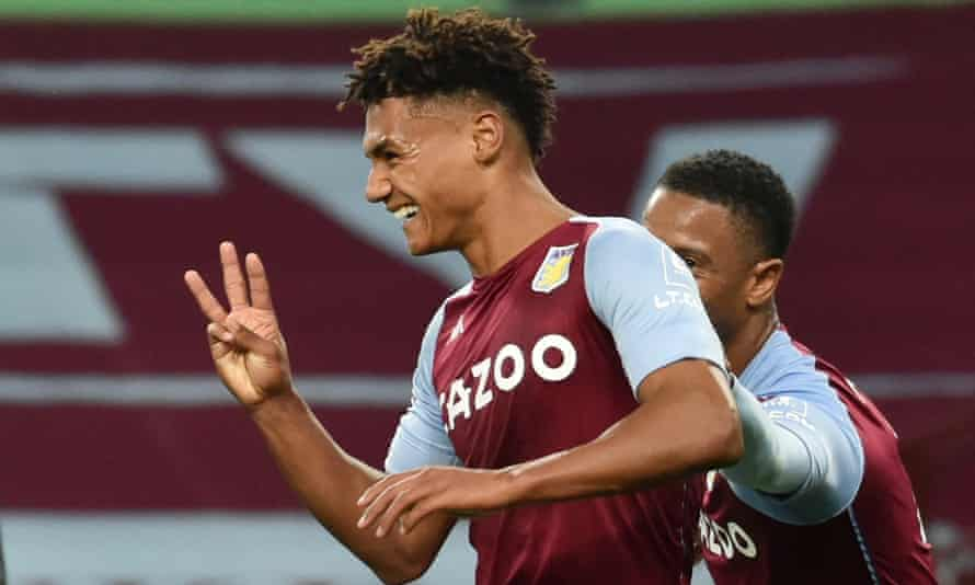Ollie Watkins celebrates his third goal in an astonishing 7-2 win for Aston Villa against Liverpool.