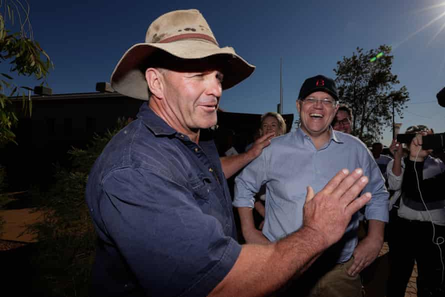 Scott Morrison meets former rugby league player turned farmer Shane Webcke in Quilpie during his visit to south-west Queensland.