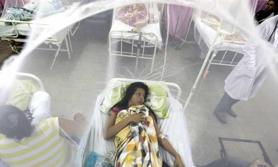 A patient protected by a mosquito net, recovers from a bout of dengue fever at a hospital in Luque, Paraguay.