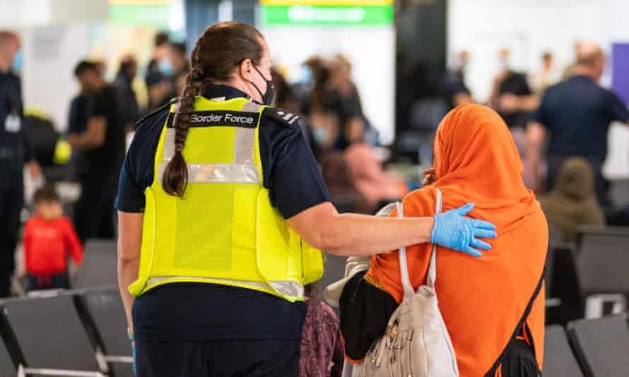 An Afghan refugee arriving at Heathrow last week.