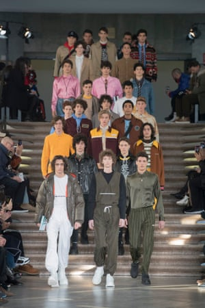 """MSGMMSGM cast students in place of models for the show at the University of Milan with collegiate tropes featuring throughout. Sportswear, cords, puffer jackets and backpacks formed the core of the collection with graffiti – """"tempodicambiare"""" (time to change) – as mottos on t-shirts and embroidered patches."""