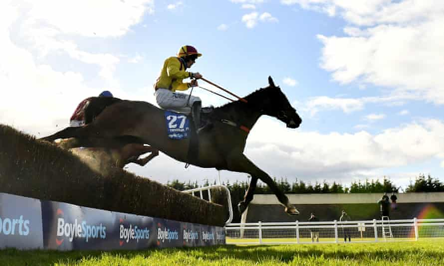 Freewheelin Dylan, with Ricky Doyle up, jumps the last on their way to winning the Irish Grand National.