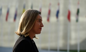 Federica Mogherini arrives for the EU foreign affairs meeting in Luxembourg on 16 October 2017.
