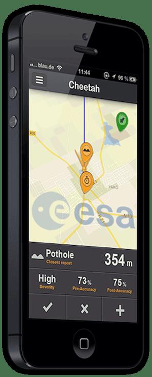 Phone displaying Cheetah app