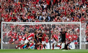 Patrick Bauer scores the winner to send Charlton fans into raptures behind the goal.