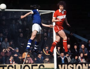 Middlesbrough's Willie Maddren heads clear during their match against Cardiff City in April 1974.