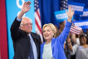 Bernie Sanders endorses Hillary Clinton at an event in Portsmouth, New Hampshire, in July 2016.