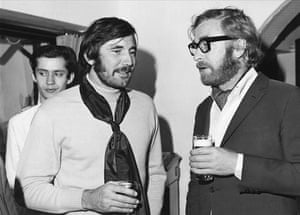 George Lazenby with Michael Caine in 1969.