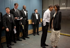 Jan 2009 Humour, love and friendship – the Obamas share a joke in a lift on inauguration night