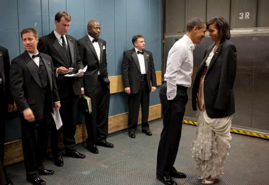 Barack and Michele Obama with staff and secret service agents on the day of his first inauguration in 2009.