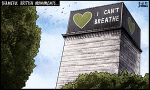 Ben Jennings cartoon 15/6/20: Grenfell Tower wrapped in 'I Can't Breathe' banner