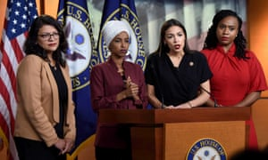 Democrat Congresswomen press conference, Washington DC, USA - 15 Jul 2019<br>Mandatory Credit: Photo by Carol Guzy/ZUMA Wire/REX/Shutterstock (10337591a) Rep. Alexandria Ocasio-Cortez (D-NY) speaks and Reps. Rashida Tlaib (D-MI), Ilhan Omar (D-MN) and Ayanna Pressley (D-MA) listen. Democrat Congresswomen press conference, Washington DC, USA - 15 Jul 2019