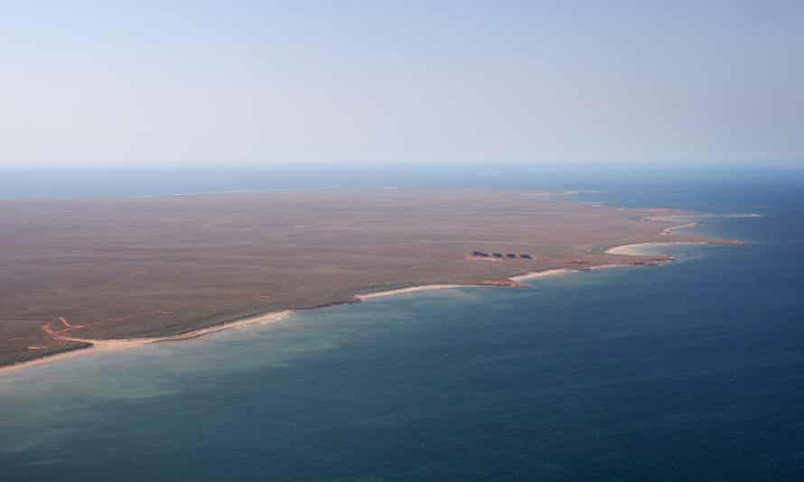 An aerial view of terminal tanks at the northern end of Barrow Island, the site of Chevron's gas project