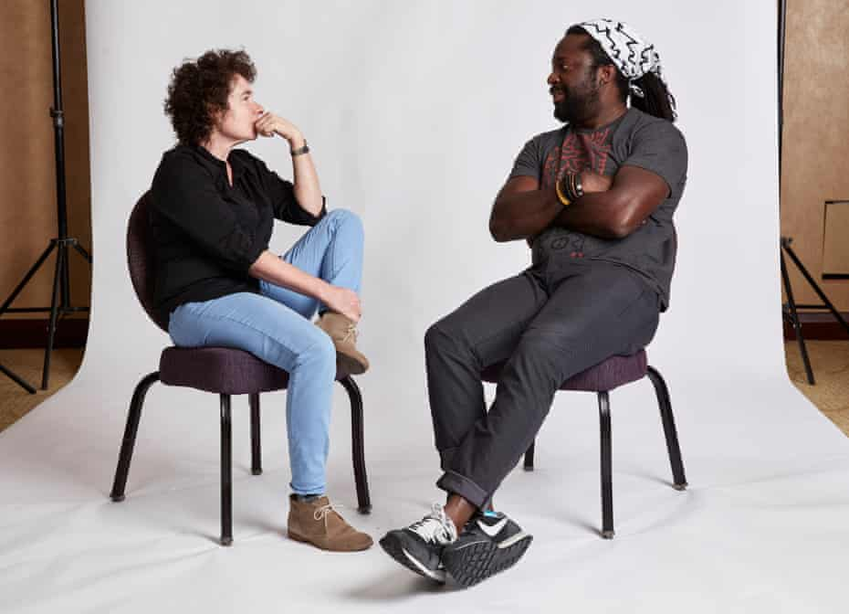 Jeanette Winterson and Marlon James photographed at the Mandarin Oriental Hotel