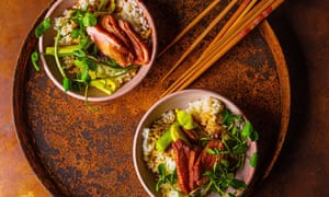 Pan seared duck breast with grilled leeks and watercress on rice by Shuko Oda. Food and prop styling by Polly Webb-Wilson