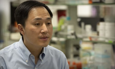 He Jiankui in his laboratory in Shenzen, china.
