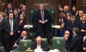 The Speaker, John Bercow, with MPs during a debate on the withdrawal agreement