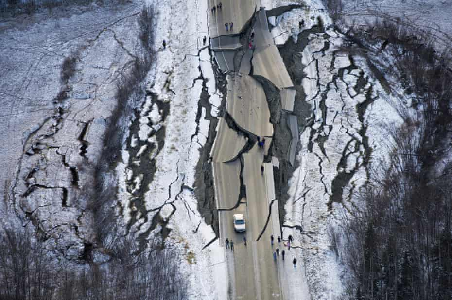 Road destroyed by earthquake in Alaska