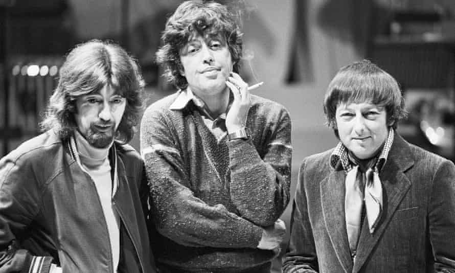 From left, Trevor Nunn, Tom Stoppard and André Previn at the Mermaid theatre, London, for the play Every Good Boy Deserves Favour.