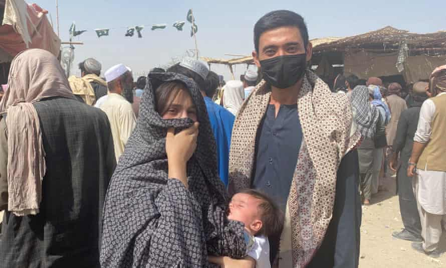 Sher Ali with his wife and small baby who fled Kabul and reached Chaman, Pakistan on Thursday.