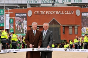 Lisbon Lion Billy McNeill and Celtic Chairman Ian Bankier open the new Celtic Way at Celtic Park in June 2014