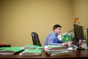 Santiago Campos, a staff attorney, at the Raices headquarters.