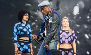 Pharrell Williams performs on the Pyramid stage.