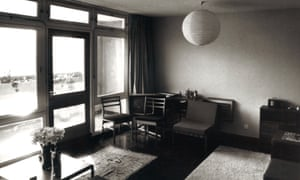 Black and white photograph of a flat in Balfron Tower.