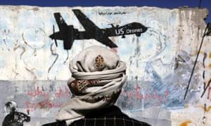 Graffiti in Sana'a, Yemen. The Pentagon did not address rumors of civilian casualties.