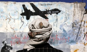 Graffiti protests US drone operations on a street in Sana'a, Yemen.
