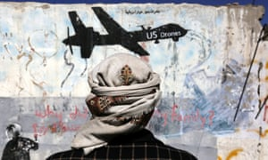 Graffiti in Sana'a protesting against US drone operations in Yemen.