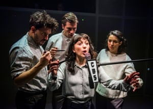 Julian Spooner, Matthew Wells, Amalia Vitale and Mona Goodwin in The War of the Worlds  at the New Diorama.