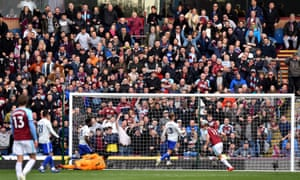 Burnley's Chris Wood scores his side's second goal of the game.