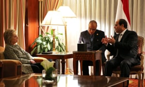 Clinton attends a bilateral meeting with Egypt's President Abdel Fattah el-Sisi at a hotel in New York Monday.