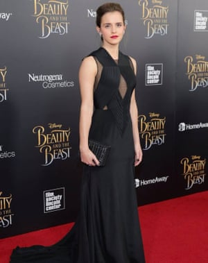 Emma Watson with a Bottletop clutch at the Beauty and the Beast premiere.