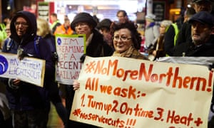 Northern rail passengers protesting outside Manchester Victoria station in December.