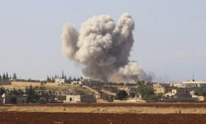 Smoke rises from a Syrian government airstrike near Idlib, Syria on 10 September 2018