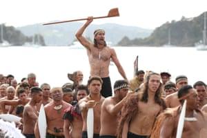 The waka arrive outside Te Tiriti o Waitangi marae.