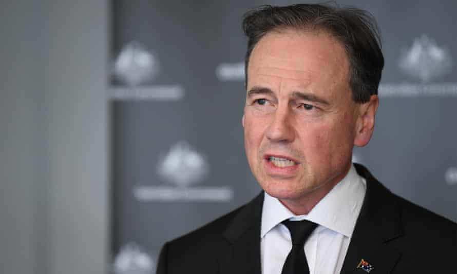 Federal health minister Greg Hunt speaks to the media on Tuesday, saying 'there is no change to the medical advice' on AstraZeneca.