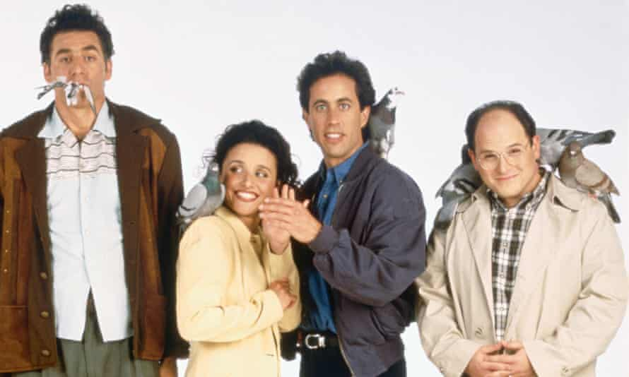 The cast of Seinfeld, from left: Michael Richards as Cosmo Kramer, Julia Louis-Dreyfus as Elaine Benes, Jerry Seinfeld as Jerry Seinfeld, Jason Alexander as George Costanza.