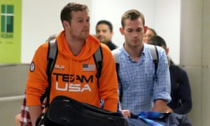 Gunnar Bentz, right, and Jack Conger arrived back in the US on Friday night.