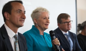 Wentworth's Liberal candidate Dave Sharma, independent Kerryn Phelps and Labor's Tim Murray spar at a candidate's panel at Bondi Surf Bathers Life Saving Club on Monday ahead of Saturday's byelection.